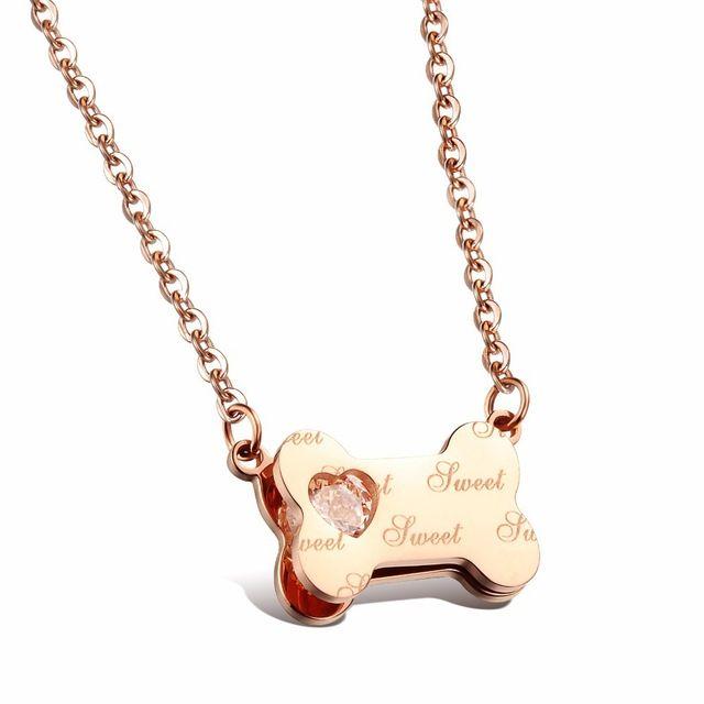 Розового золота ожерелья для женщин из нержавеющей стали ожерелье кулон ж / кристалл в форме сердца ювелирные изделия регулируемая женщины ожерелье комплект GX989