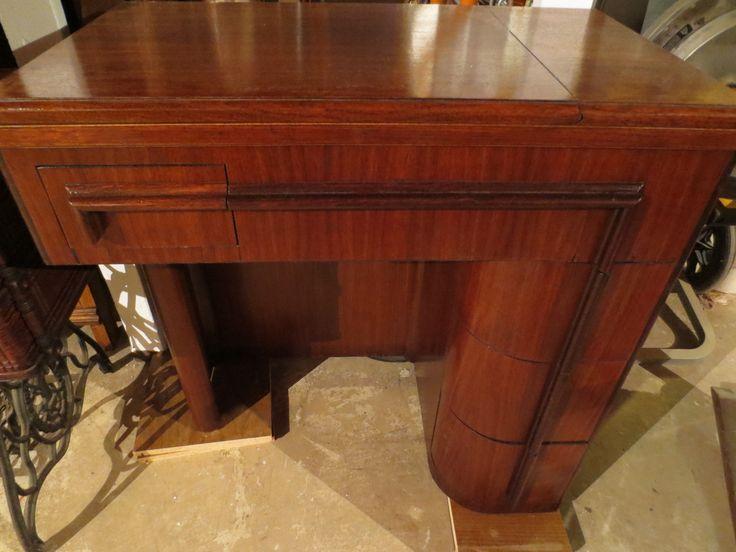 Mid20th Century Walnut Singer Art Deco Sewing Machine Cabinet After Restoration  Restored