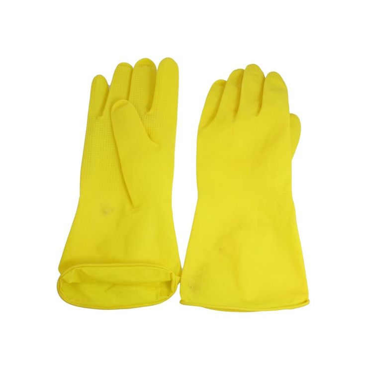 Unique Bargains Housework Hands Protector Washing Cleaning Glove Pair Yellow
