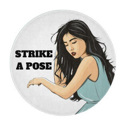 """STRIKE A POSE"" ASIAN LADY CUTTING BOARD - girl gifts special unique diy gift idea"