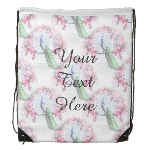http://www.zazzle.com.au/peacock_cherry_blossoms_and_lattice-256273056751529021?rf=238523064604734277 Peacock Cherry Blossoms And Lattice Drawstring Backpack - This drawstring backpack features a peacock perching on a cherry blossom branch in front of a lattice wall.