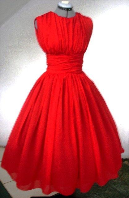Confidently Elegant Red chiffon 50s Dress Customize., via Etsy.