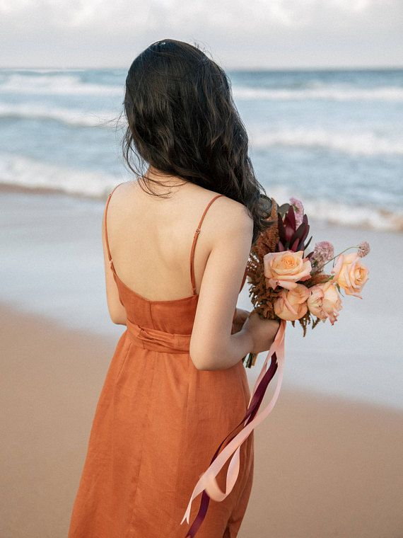 f07f82f759 Paprika rust bridesmaid dress in linen. This is a wrap dress