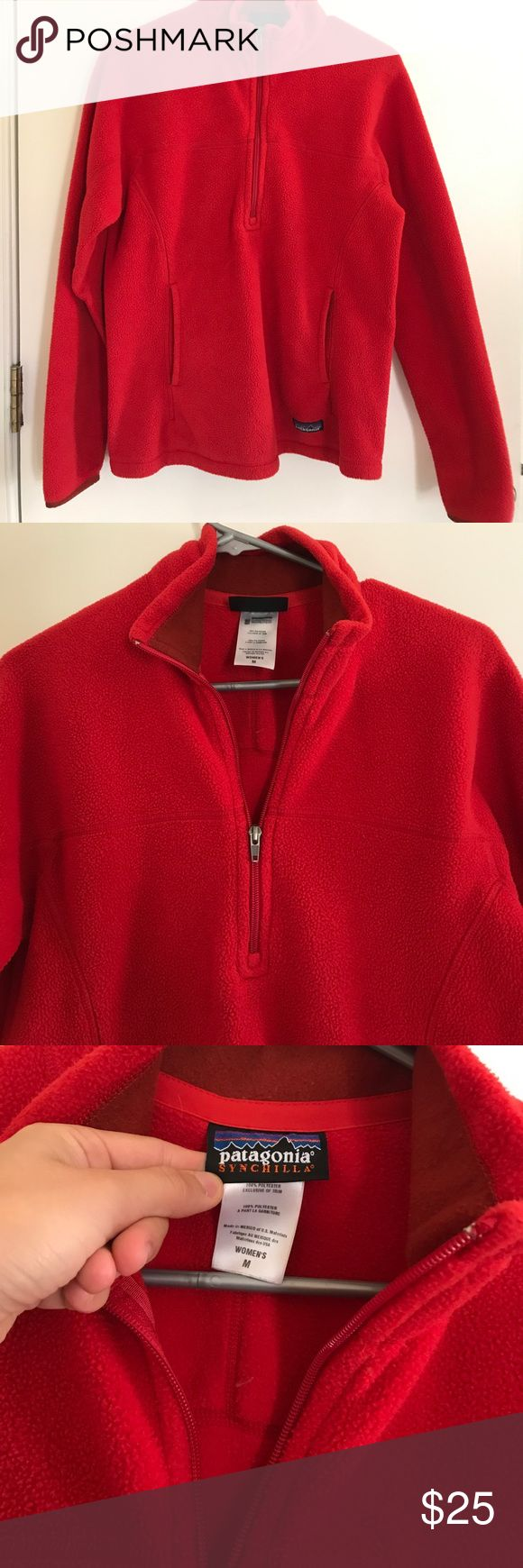 PATAGONIA fleece pullover Red fleece pullover that has 1/4 zip. Has pockets, in great condition Patagonia Jackets & Coats