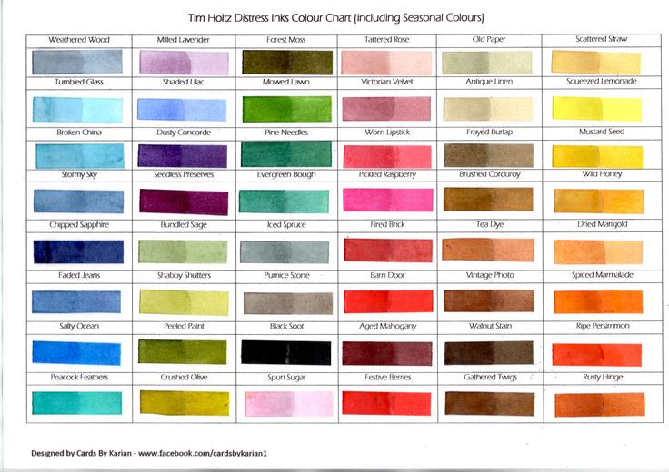 Tim Holtz Distress Inks Colour Chart 48 colours with clear embossing