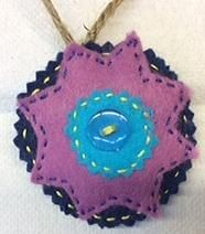Blue felt ornament w purple star