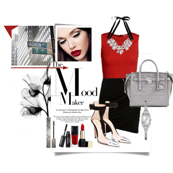 Red-vilish~ by deluniq on Polyvore featuring Alice + Olivia, French Connection, Gianvito Rossi, Michael Kors, Atmos&Here, GUESS, Guerlain and Burberry