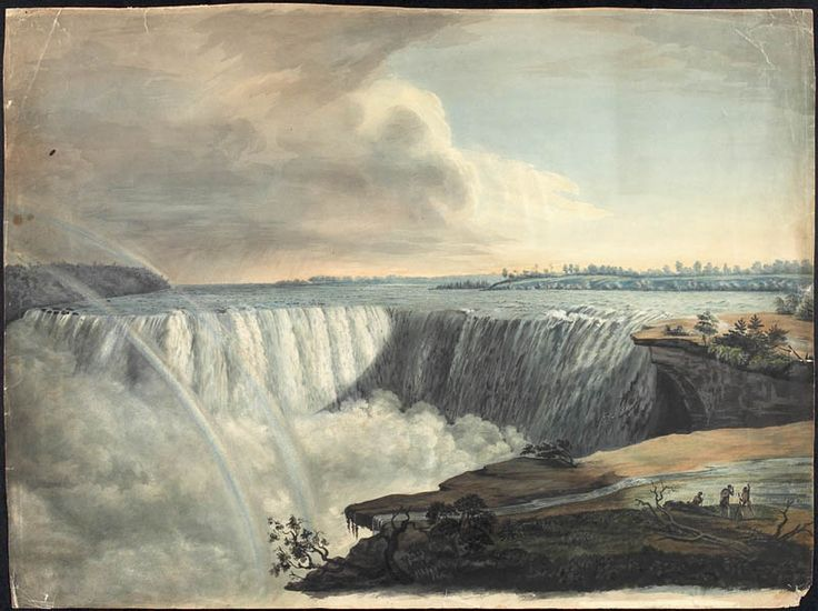 Vue du bras ouest des chutes Niagara depuis Table Rock, ca 1815. Crédit: Bibliothèque et Archives Canada, no d'acc R9266-396 Collection de Canadiana Peter Winkworth.