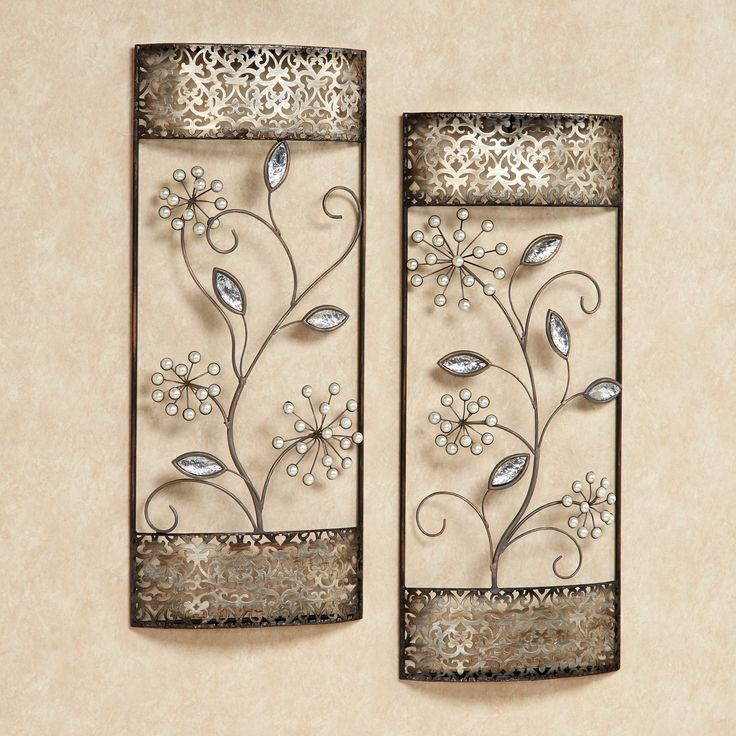 pearl shimmer floral metal wall art set