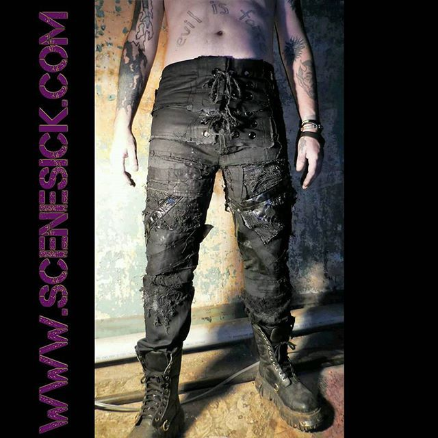 New custom wrestling pants #scenesick #apocalypticfashion #horrorfashion #badguywrestling #custommade #handmade #ooak #rivethead #deathrock #gothfashion #stagewear #streetwear #cosplay #costume #wasteland #postapocalyptic #punk #heavymetal #biker