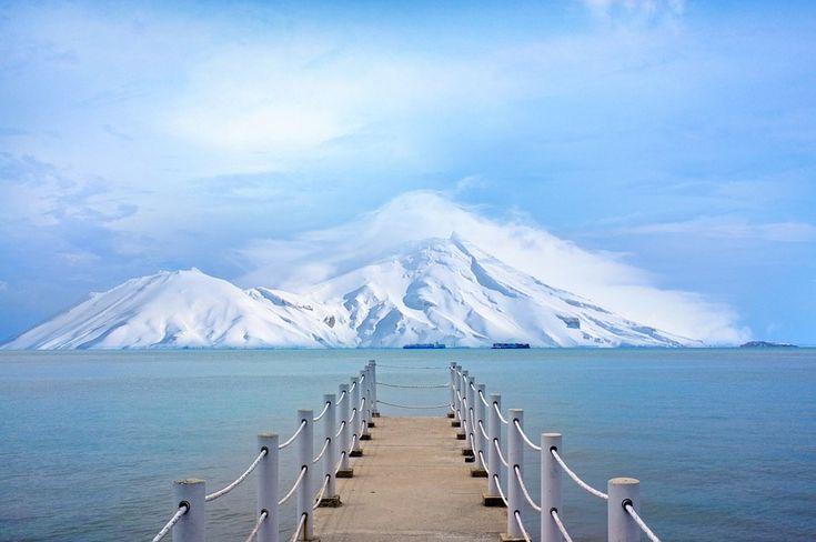 Пирс, Док, Океан, Море, Озеро, Воды, Горы, Снег, Зима