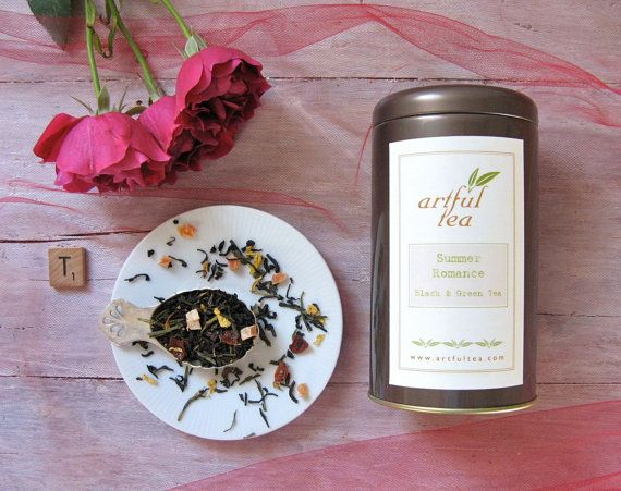 Summer Romance Black & Green Tea, luxury loose leaf tea by ArtfulTea