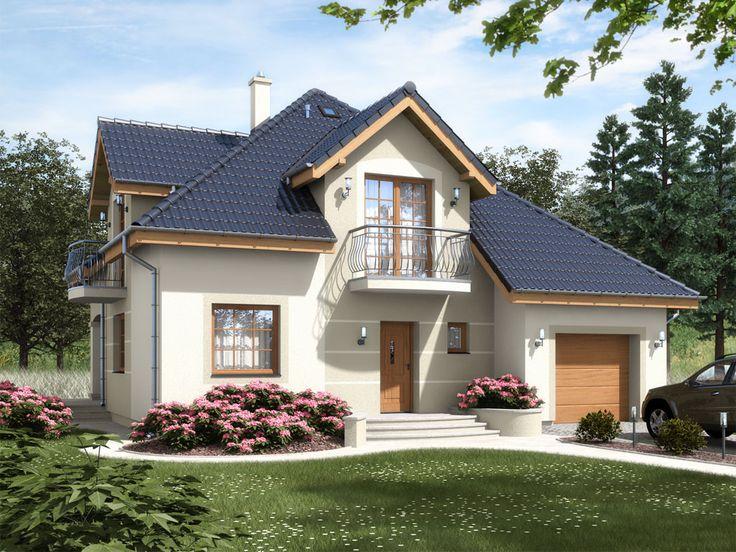 Komfortowy, prosty w budowie, dom jednorodzinny, niepodpiwniczony, przeznaczony dla 5(6) osobowej rodziny z garażem jednomiejscowym wbudowanym w bryłę budynku.