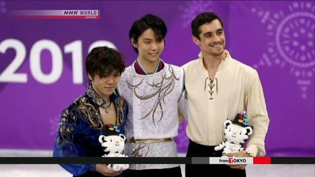 Hanyu defends gold in men's figure skating- News - NHK WORLD - English Japan's Yuzuru Hanyu has won gold in the men's figure skating in the PyeongChang Winter Olympics in South Korea. 教育楽器販売㈱ @Piano_kyoikugk  【#PyeongChang2018】獲得!おめでとう! ‐⑩    #FigureSkating   #金メダル #羽生結弦 #YuzuruHanyu & 連覇#JPN #銀メダル@yawning_shoma #宇野昌磨 #JPN #銅メダル @javierfernandez #ESP