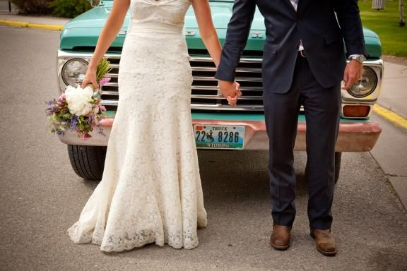 I love the groom's brown boots with navy suit. And the lace dress of course!