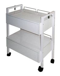Spa Masters Esthetician Trolley One of our most popular for Estheticians, this attractive trolley features 2 drawers, 4 easy glide wheels, mag light holders on both sides and back guard rails to prevent items from falling off.... #SPAMASTERS #ESTHETICIANTROLLEY #CSH27012