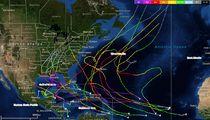 "Map of Atlantic major hurricanes during post-""Modoki"" seasons, including 1987, 1992, 1995, 2003 and 2005."