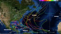 "Map of Atlantic major hurricanes during post-""Modoki"" seasons, including 1987, 1992, 1995, 2003 and 2005."