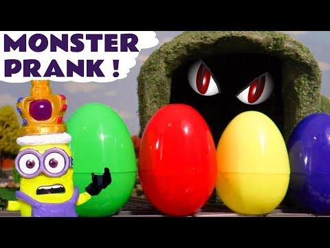 Minions Surprise Eggs Monster Prank Colors with Johny Johny Yes Papa Nursery Rhymes TT4U - YouTube