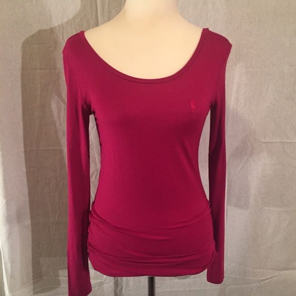 New Ralph Lauran Tee Long sleeves. Fuch red. Stretchy. With pony logo. New with tag. Size M. Ralph Lauren Tops Tees - Long Sleeve