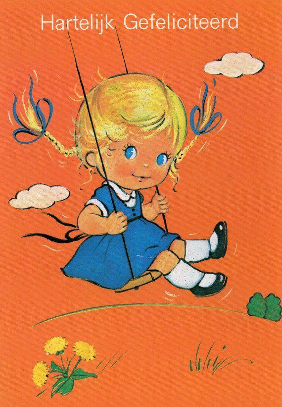 Vintage+Postcard+70's+Big+blue+eye+girl+on+the+by+CuteEyeCatchers,+€3.50