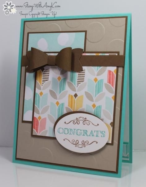 I made this card for the Mojo Monday 379 sketch.  You can see more information and free instructions for making it on my blog here:  http://stampwithamyk.com/2015/01/10/stampin-up-simply-wonderful-congratulations-bow-tie/