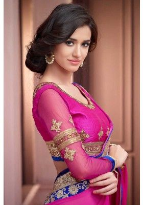 Persian-rose #Pink Faux Georgette #Embroidered Party Saree Sku Code: 207-5889SA448747 US $79.00 http://www.sareez.com/catalog/product/view/id/70304/s/persian-rose-pink-faux-georgette-embroidered-party-saree/category/90/