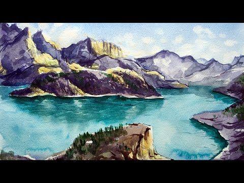 Как нарисовать акварельный пейзаж с горами и морем - YouTube
