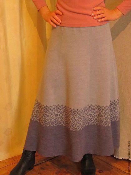 юбка вязанная с каймой - серый,орнамент,вязаная юбка,юбка в пол,юбка длинная