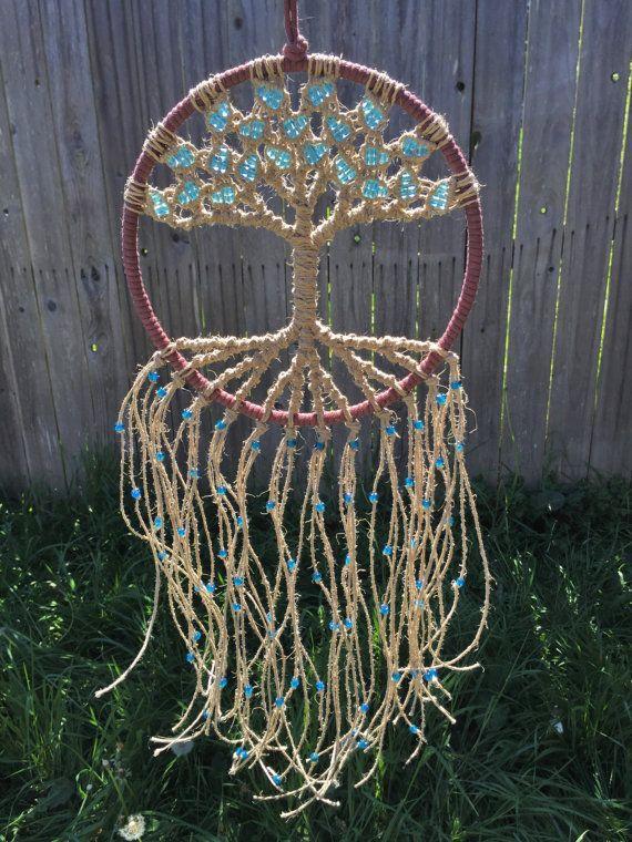 Macrame colgante atrapasueños Hippie tapices Macrame arte árbol de vida tapiz Dream Catcher cáñamo Natural aro de 8 pulgadas de la pared