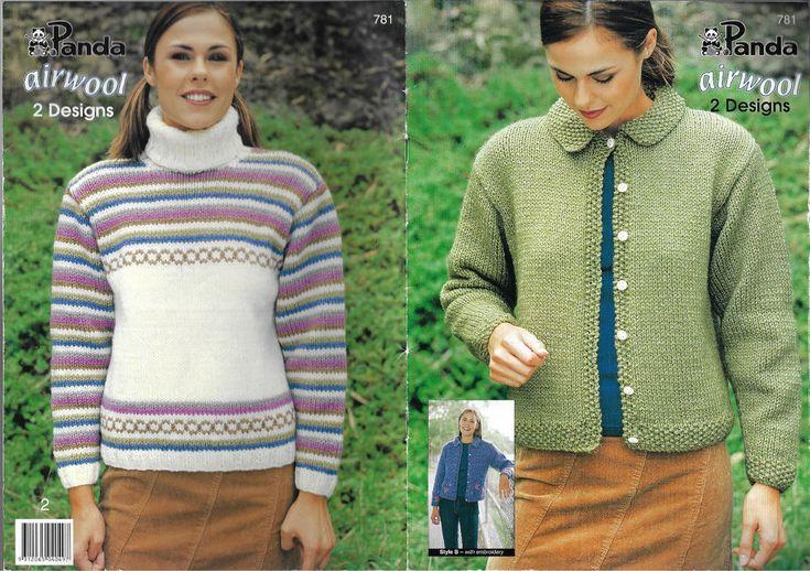 Women's Cardigan & Sweater Panda 781 knitting pattern Airwool yarn chunky winter #Panda