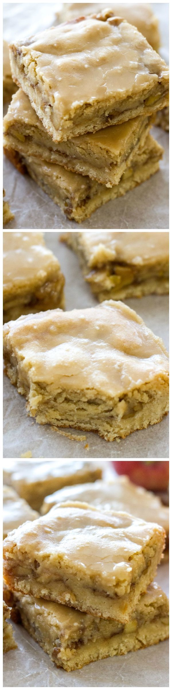 Maple Glazed Apple Blondies - These chewy apple blondies taste like apple pie and are covered in a sweet maple glaze. You're sure to fall in love. #blondies