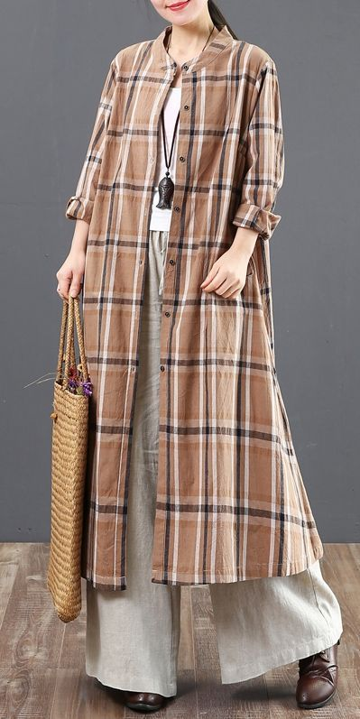 Loose Cotton Linen Plaid Long Shirt Women Casual Blouse 6127