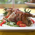 baon-wrapped quail stuffed with goat cheese