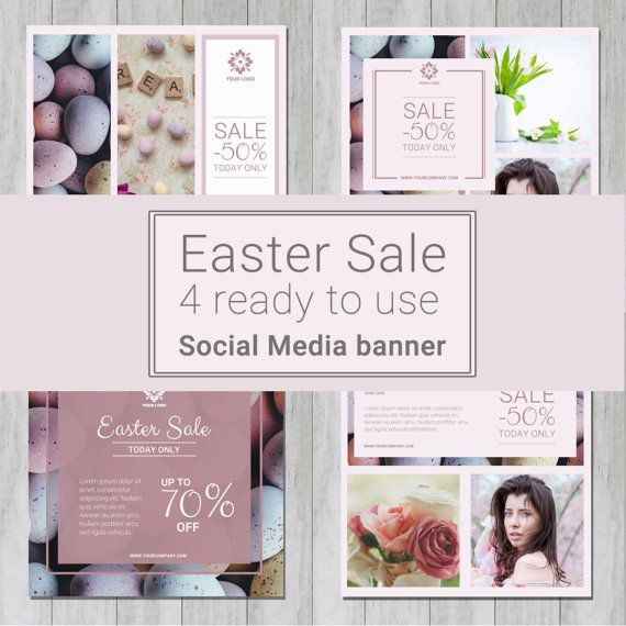 EASTER Social Media Templates for instagram, facebook - mini pack - Sale banner templates