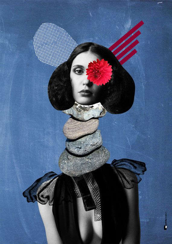 ▲ Woman's Portrait. Inexpensive collage wall art to make your walls look awesome! #poster #collage An original artwork by #PrintsProject