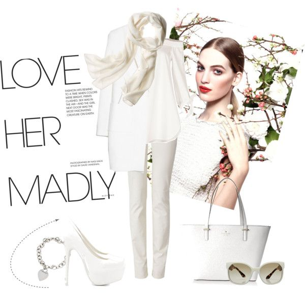 White Spring by miqua on Polyvore featuring Mode, TIBI, MANGO, Armani Jeans, Nly Shoes, Kate Spade, Tiffany & Co., Reed Krakoff, Prada and Chanel