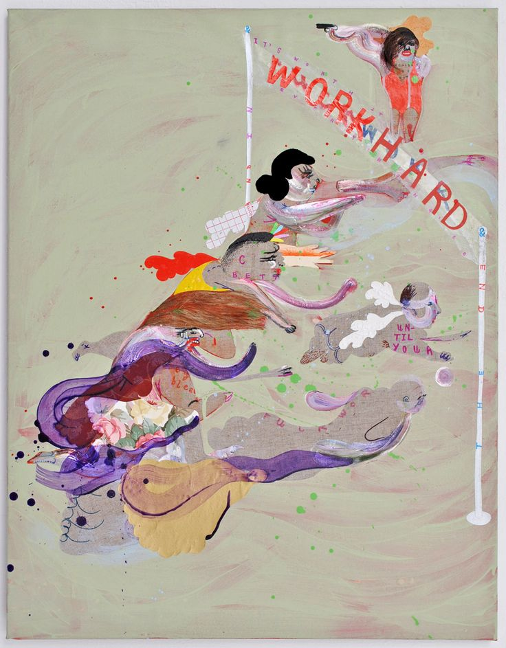 KATE LYDDON - Work Hard - oil, acrylic, ink and collage on linen 70 x 90 cm - 2012
