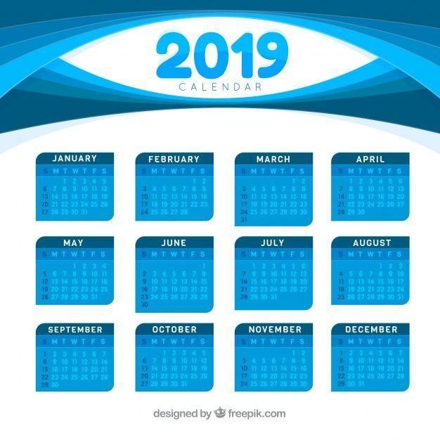 Calendar For 2019 In Flat Design Calendar Flat Design 2019