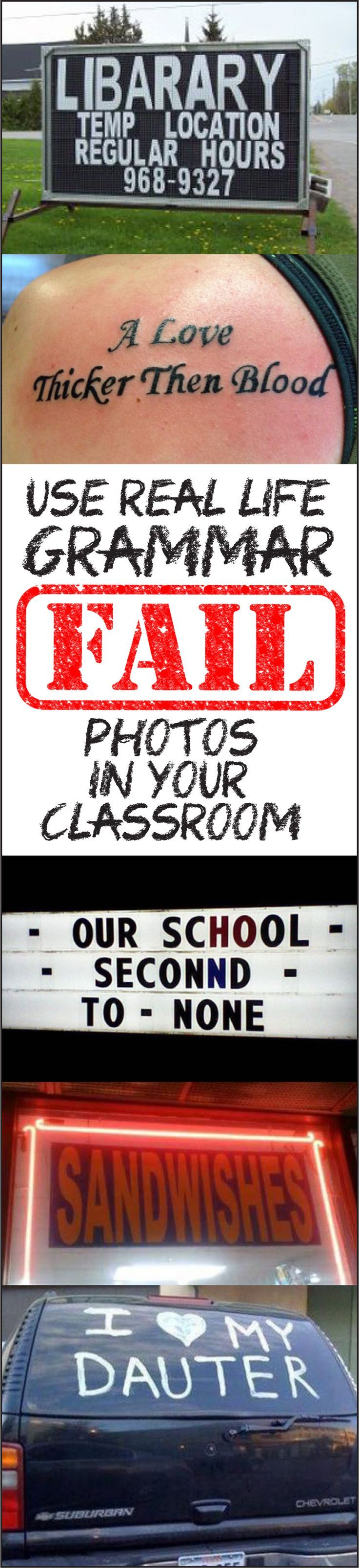 LOTS of ways to use grammar fail images in your English/language arts classroom. For grades 5 to 12.