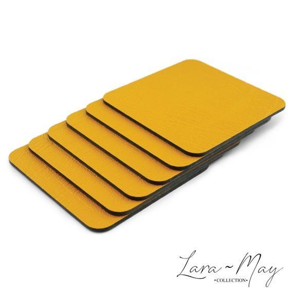 Coaster Set Of 6 Mustard Yellow Coasters Made In The Uk From Recycled Leather Ideal Gift Coaster Coasters Gift Recycled Leather Coaster Set Recycle Logo