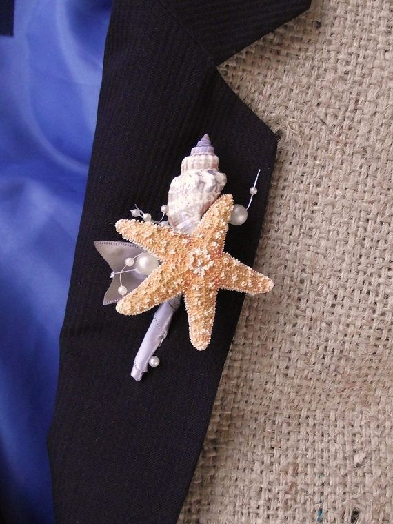 Sea shell boutonniere beach wedding boutonniere by UptownGirlzz, $8.50...this is a cute idea for a boutonniere