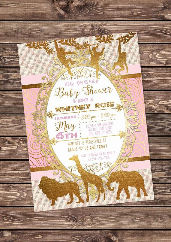 Pink and Gold Safari Baby Girl Shower Invitation African #purple #gold #safari #invitation #digital #printable #design #birthday #baby #shower #party #custom #personalized #lion #african #animals #jungle #elephant #giraffe #pastel #girl #pink
