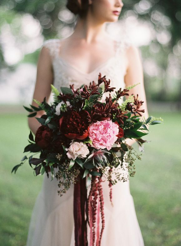 Dramatic Bridal Bouquet With Hanging Amaranthus Pink Garden Roses And Deep Red Peonies