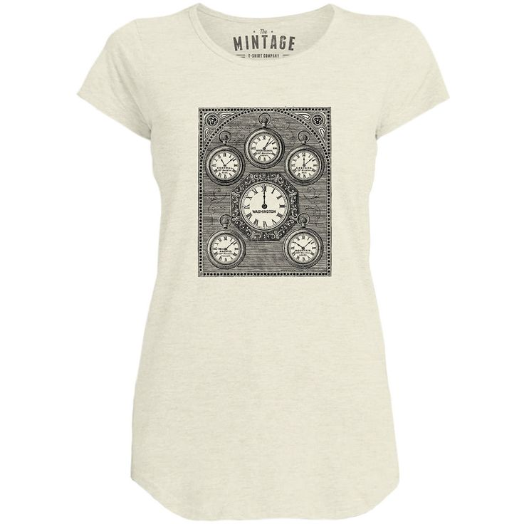 Mintage Antique International Clock Womens Capped Sleeve T-Shirt
