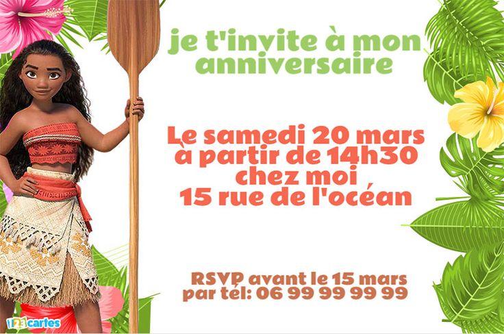 4 invitations anniversaire Vaiana, la légende du bout du monde, gratuites. Avec les personnages de Vaiana, Maui, Pua le petit cochon et Heihei le coq.