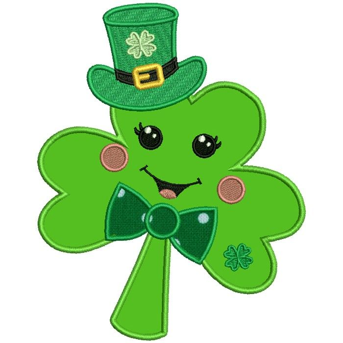 Cute Shamrock Wearing A Hat St Patrick S Day Applique Machine Embroidery Design Digitized Pattern Saint Patricks Day Art St Patricks Crafts St Patrick S Day Crafts