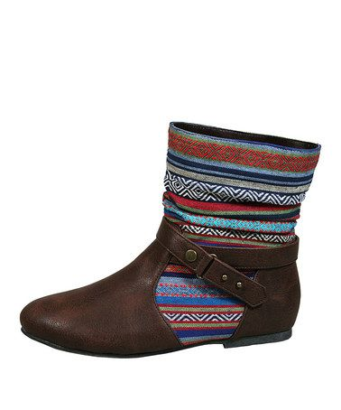Another great find on #zulily! Brown Tribal Tiktok-56 Ankle Boot by Bamboo #zulilyfinds
