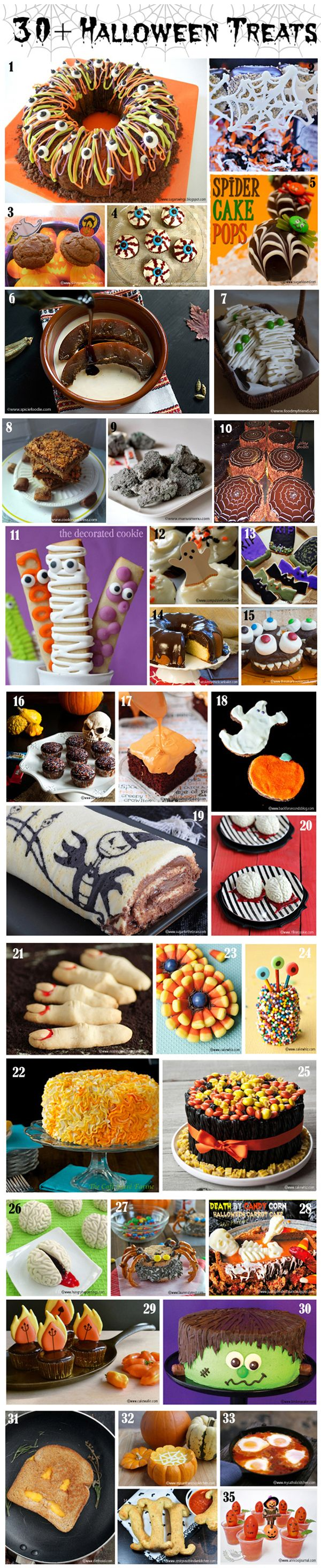 Over 30 bloggers share their FAVORITE Sweet and Savory Halloween treats... There is something for everyone!!!! #halloweenideas #spookytreats