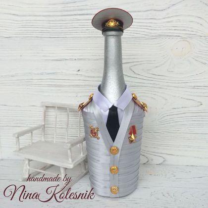 Подарочное оформление бутылок ручной работы. Генерал полиции. Оформление подарочной бутылки. Подарок мужчине. Handmade by Nina Kolesnik. Ярмарка Мастеров.